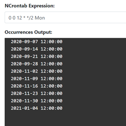 Screenshot of NCrontab Expression Tester tool
