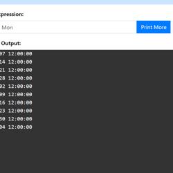 Screenshot of NCrontab Expression Tester tool