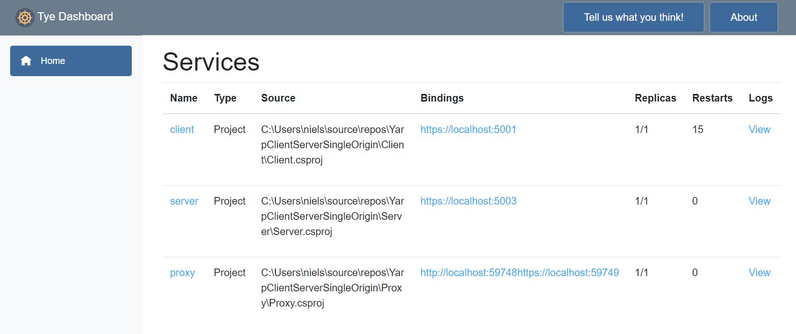 Screenshot of the project Tye dashboard