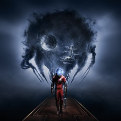 Prey Cover: Man in spacesuit holding shotgun. Earth and Spacestation in the background