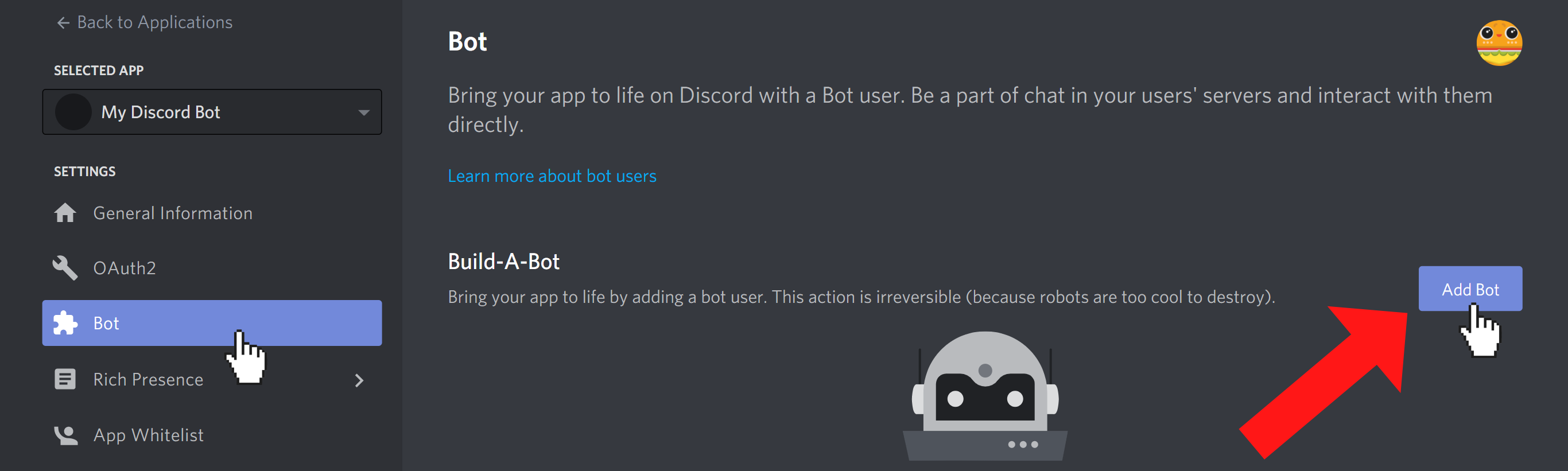 """Bot tab of the Discord application settings. Cursor is clicking on """"Add Bot"""" button"""