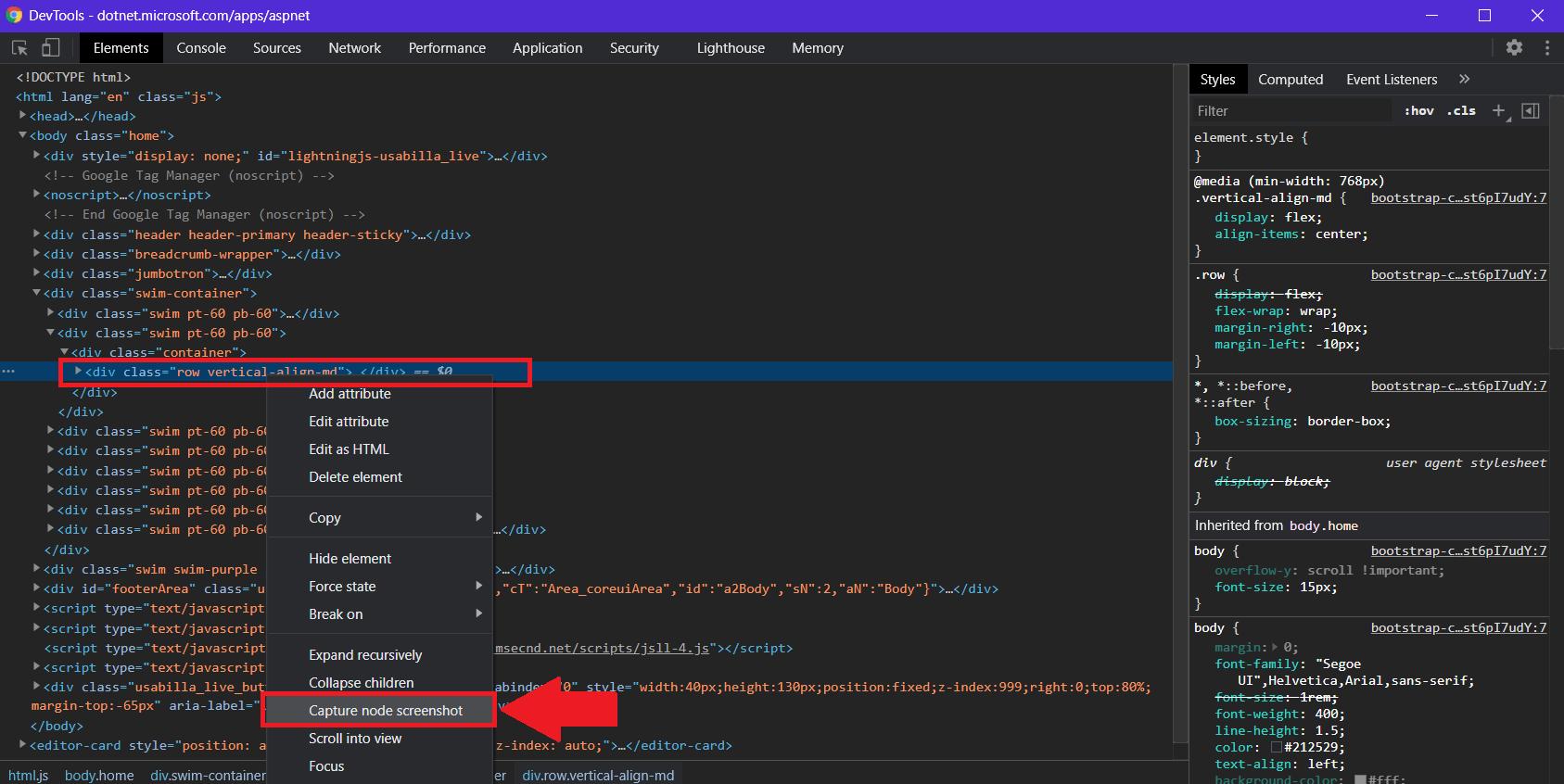 "Screenshot of clicking ""Capture node screenshot"" in node context menu"
