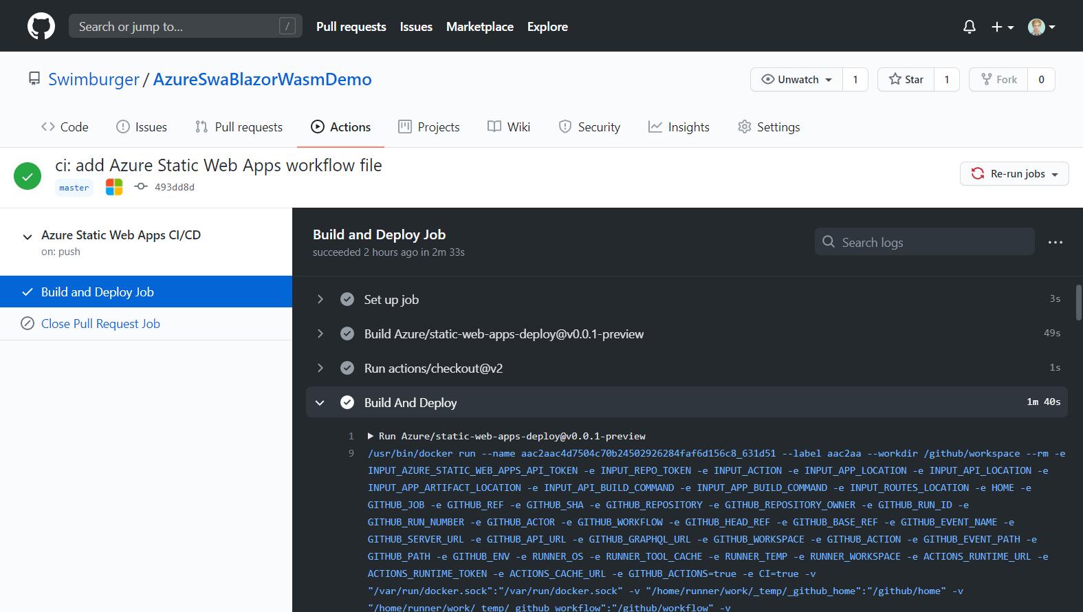 Azure Static Web App GitHub Workflow Run output