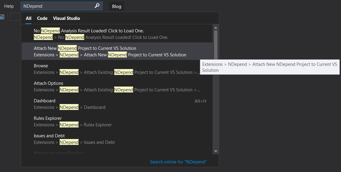 Screenshot of attaching NDepend to a .NET solution in Visual Studio