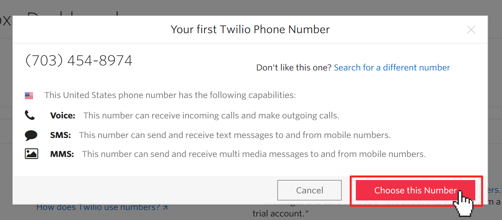 """Modal in Twilio Console proposing a phone number. Pointer clicking on button """"Choose this Number"""""""