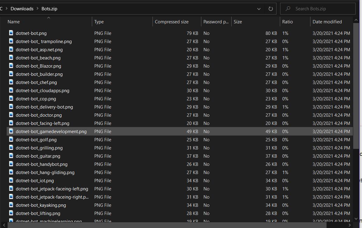 Screenshot of opening a ZIP file using Windows file explorer