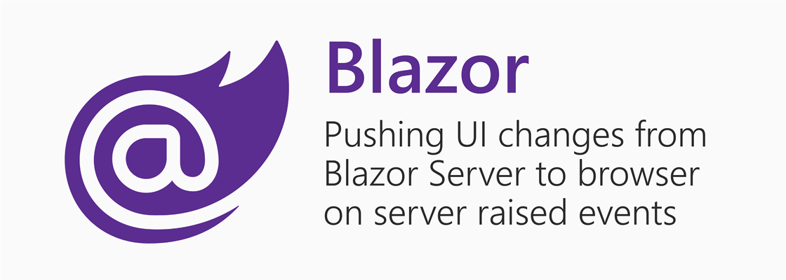 """Blazor logo next to title """"Pushing UI changes from Blazor Server to browser on server raised events"""""""