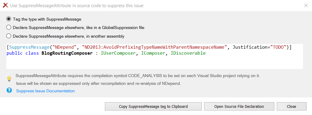 Screenshot of the Suppress violation modal in NDepend