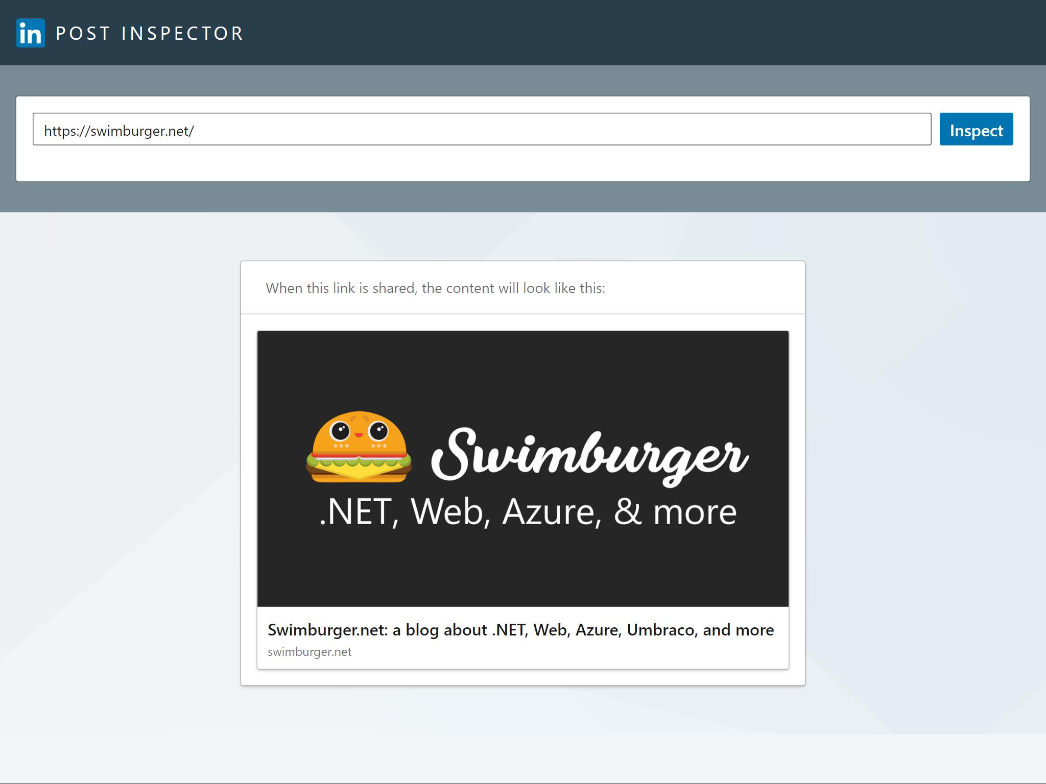 Screenshot of LinkedIn Post Inspector for swimburger.net