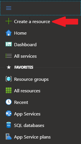 Screenshot of Azure left navigation pane