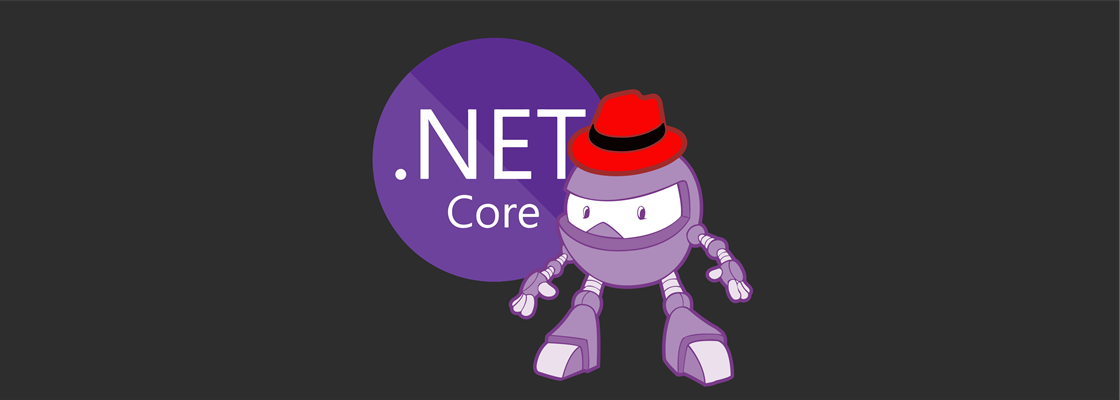 .NET Core logo + Dotnet bot wearing Red Hat