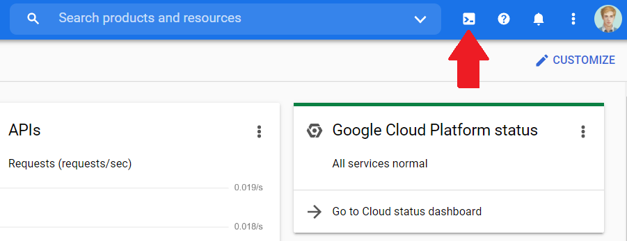 Screenshot of Google Cloud Console - Cloud Shell