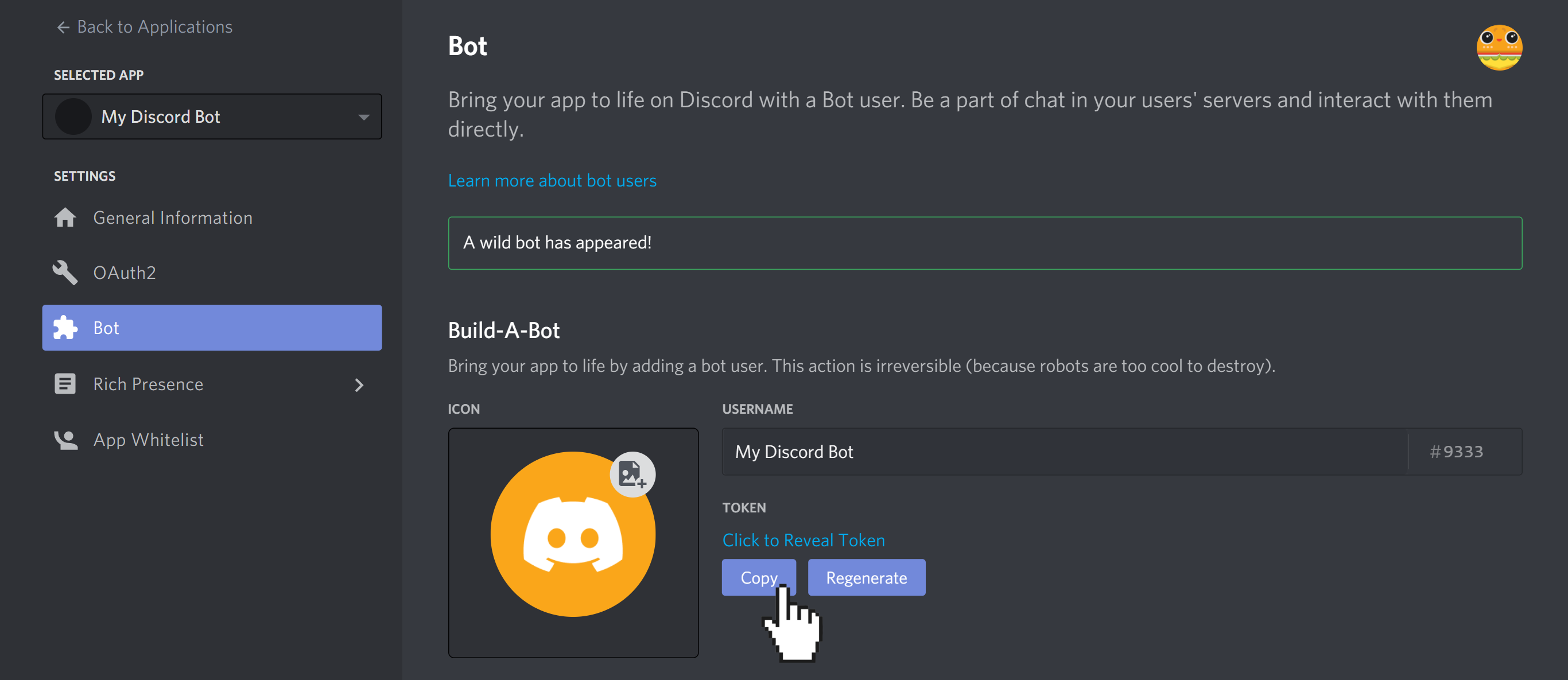 """Bot tab of Discord application after bot has been added. Cursor is clicking on """"Copy"""" button to copy the Discord bot token."""