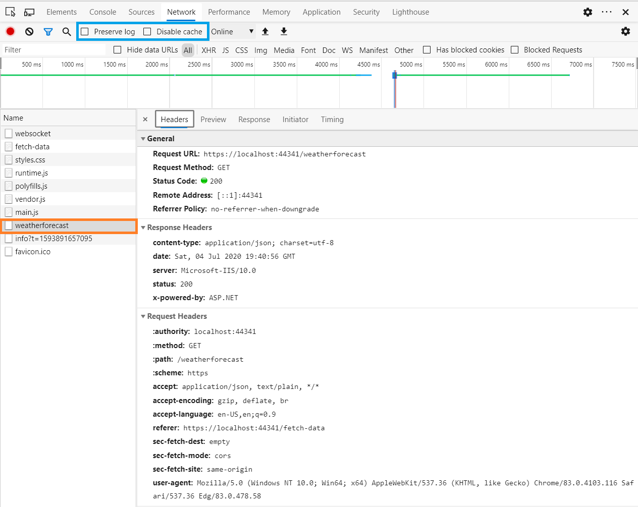 Screenshot of Edge DevTools recording HTTP Requests in the Network tab