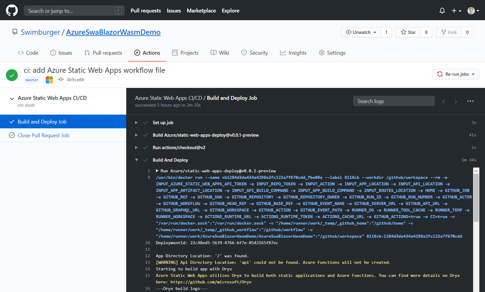 Screenshot of Azure Static Web App GitHub Action logs