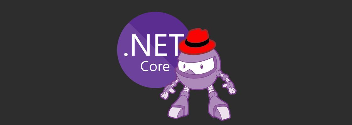 .NET Core logo + Dotnet bot wearing RedHat