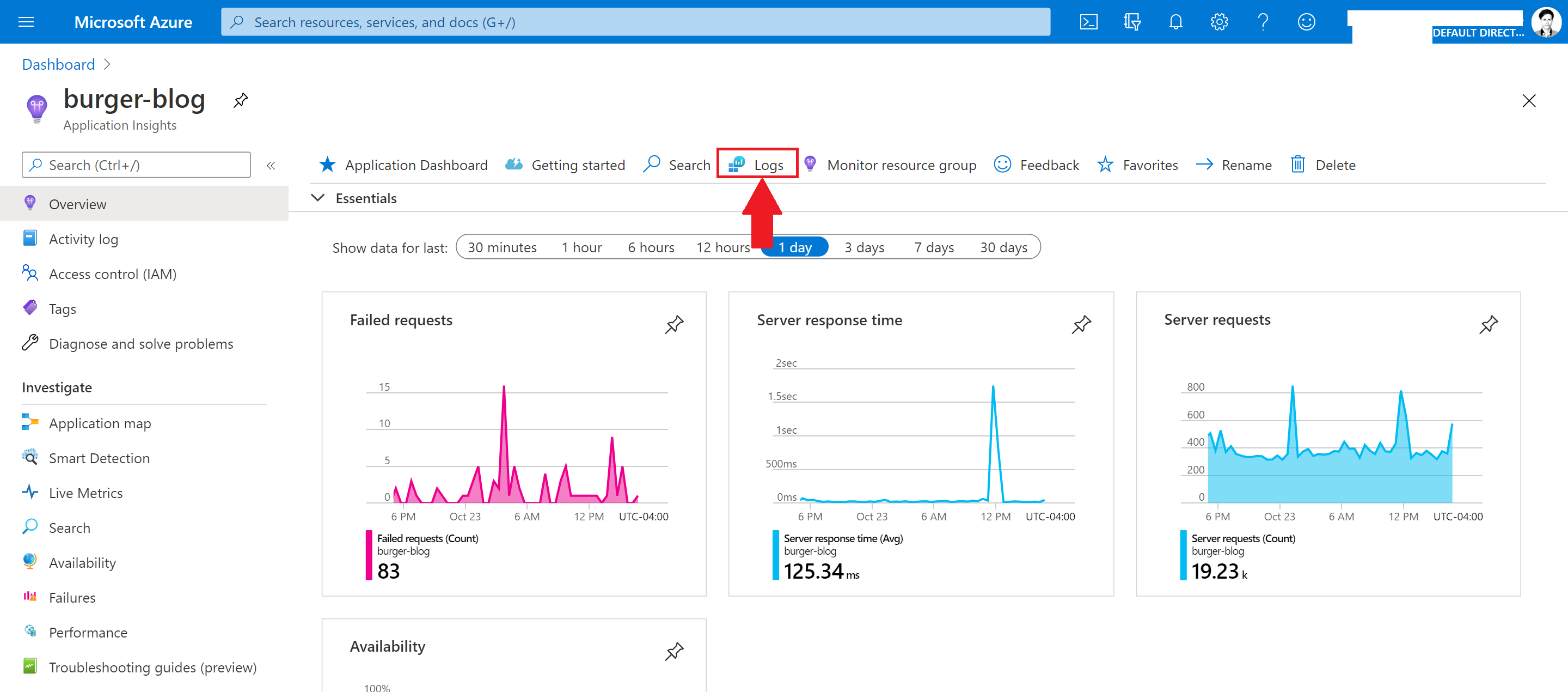 Screenshot of an Azure Application Insights resource