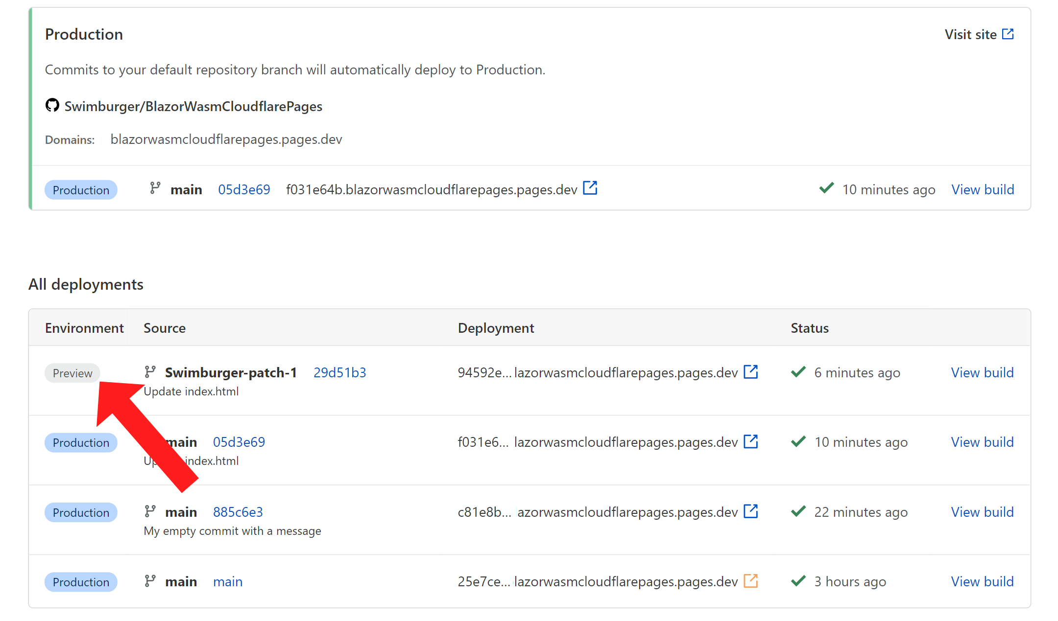 Screenshot of a preview build & deploy on Cloudflare pages