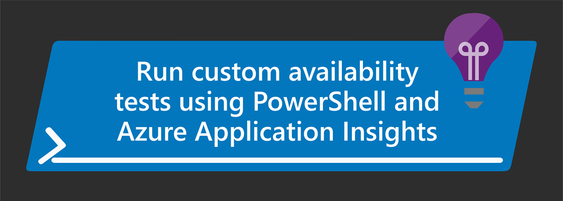 PowerShell and Application Insights logo with title: Run custom availability tests using PowerShell and Azure Application Insights