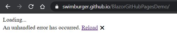Screenshot of broken Blazor application
