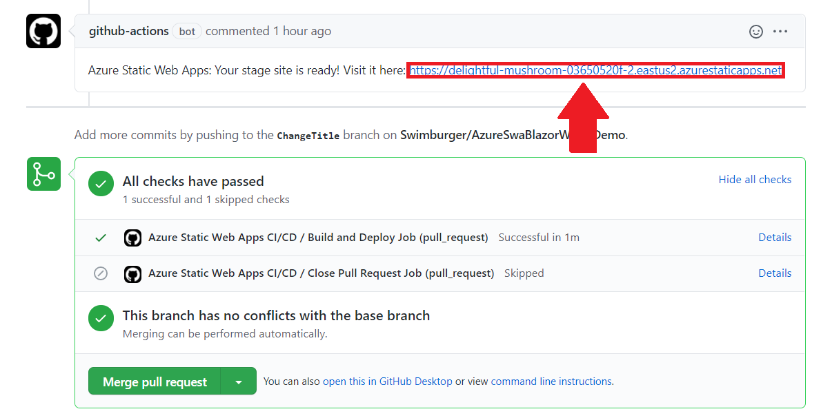 Screenshot of GitHub pull request where Azure comments the newly generate environment URL