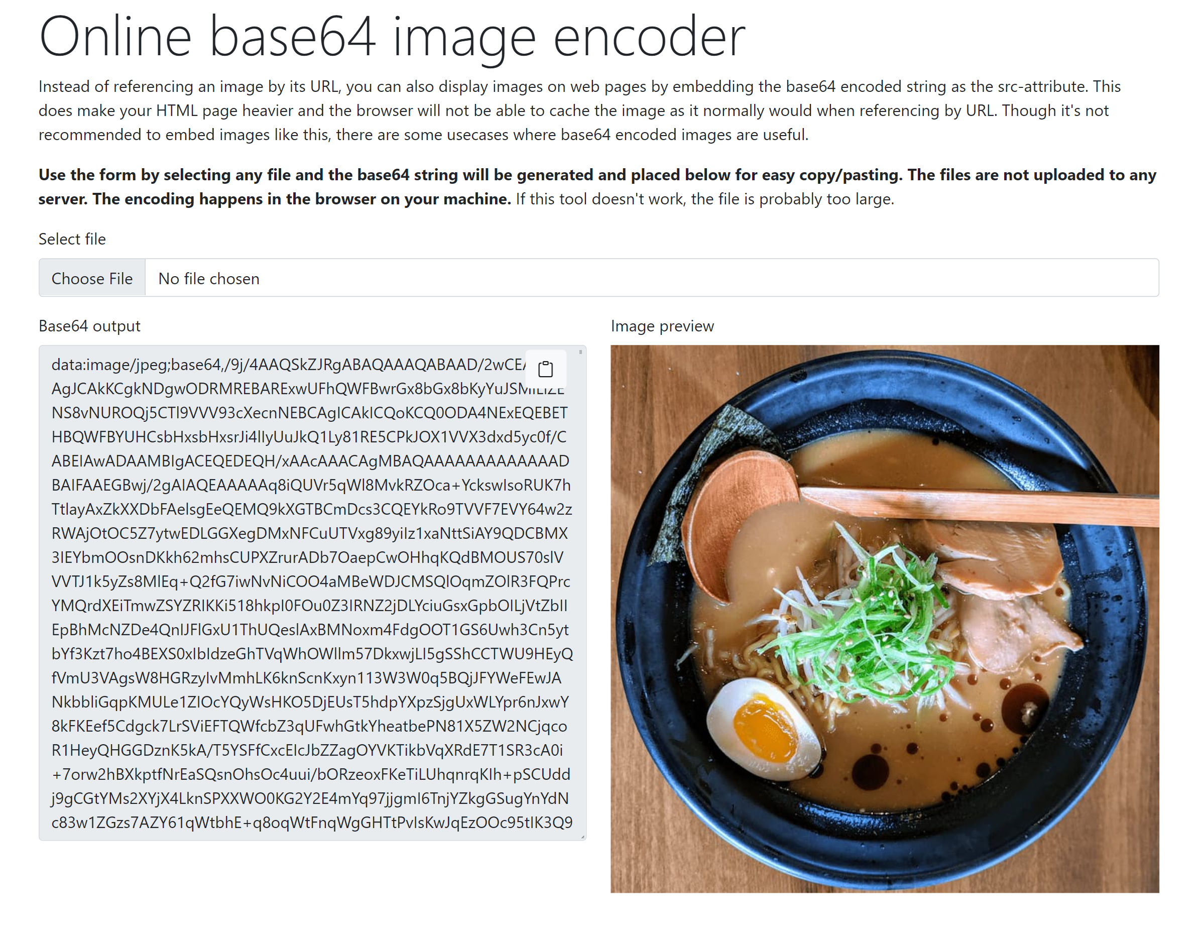 "Screenshot of ""Online base64 image encoder"" tool"