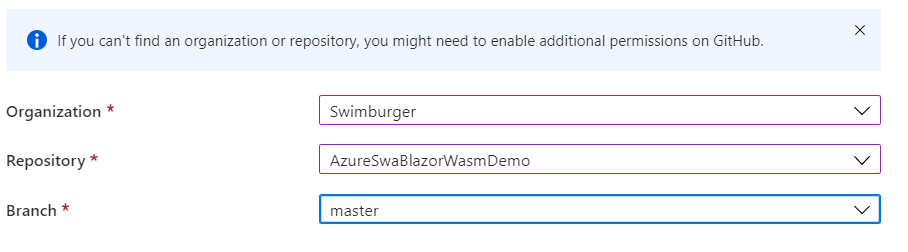 Screenshot of selecting GitHub repository in Azure Static Web App
