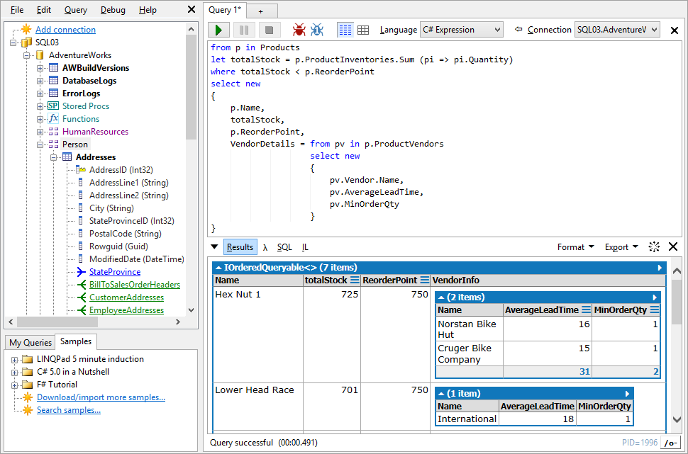 Screenshot of LINQPad tool