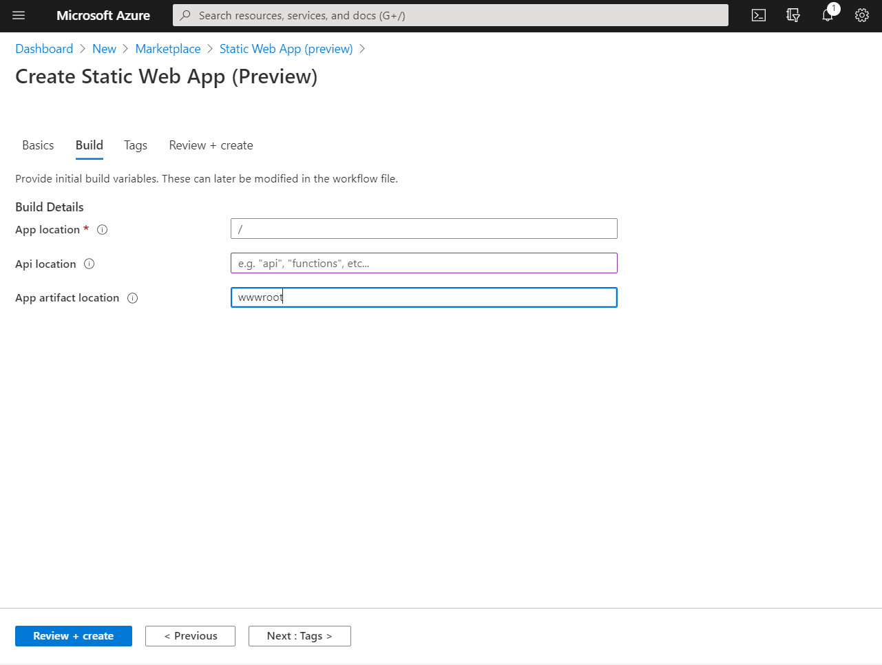 Screenshot of Azure Static Web App Build tab