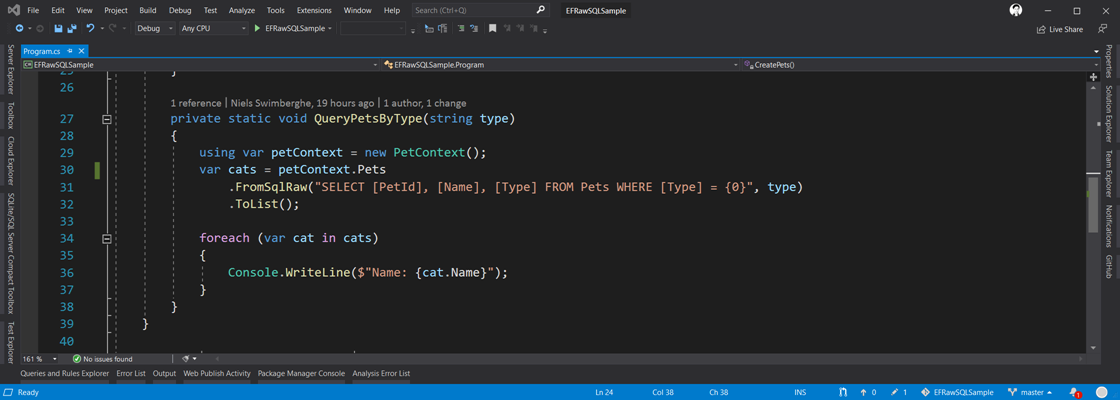 Screenshot of Visual Studio with EF Raw SQL Code