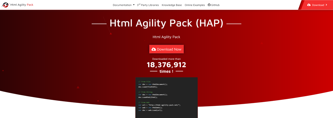 Screenshot of the HTML Agility Pack homepage