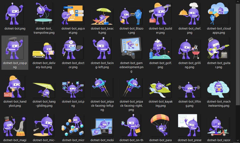 Screenshot of folder full of .NET bots