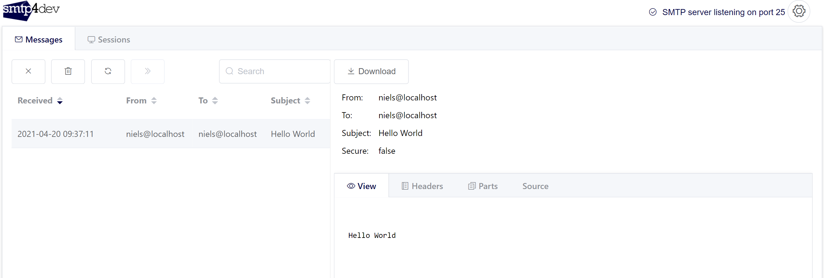 """Screenshot of the smtp4dev dashboard showing 1 email saying """"Hello World"""""""