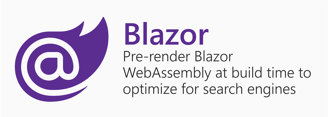 Blazor logo next to title: Pre-render Blazor WebAssembly at build time to optimize for search engines