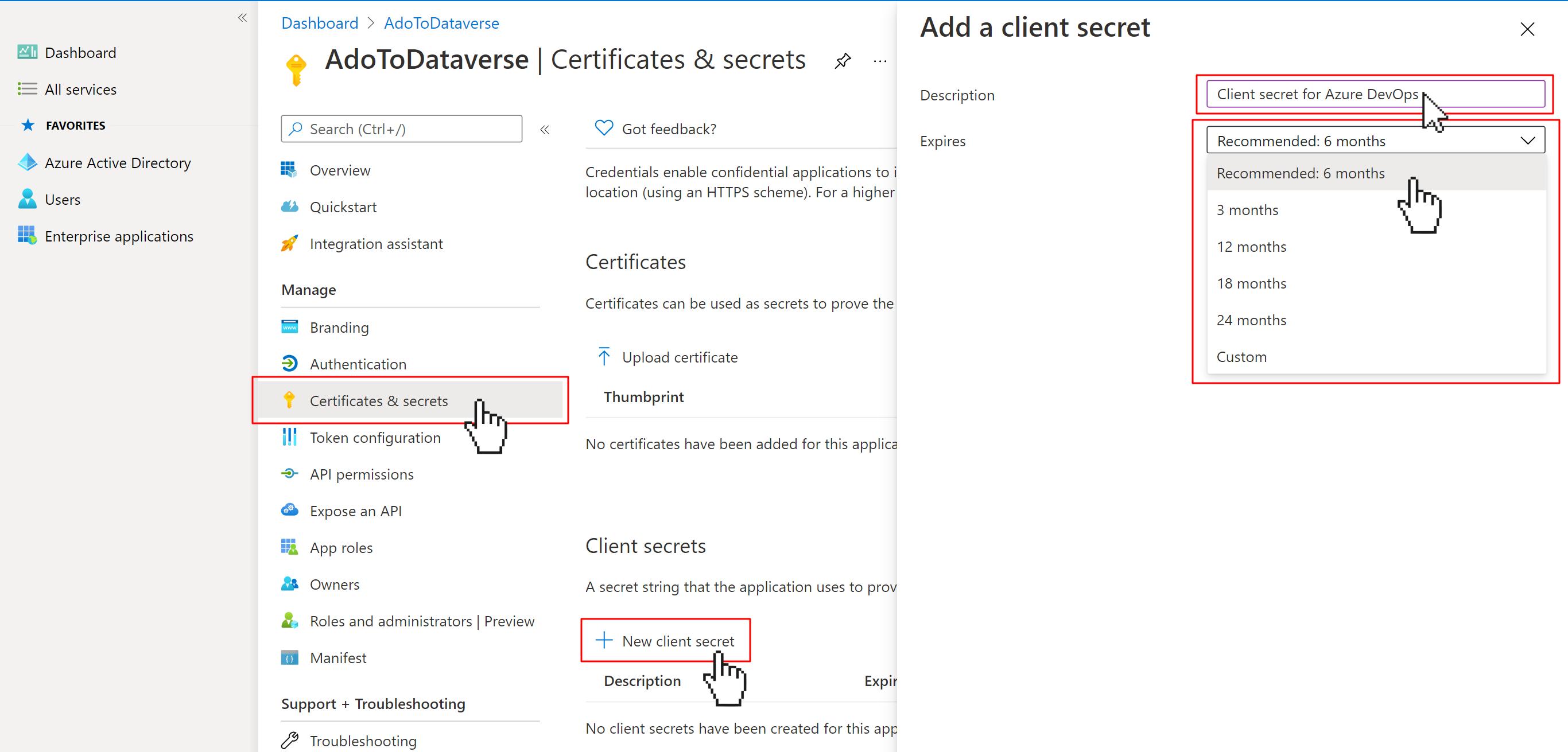AAD App Registration screen to add new client secret