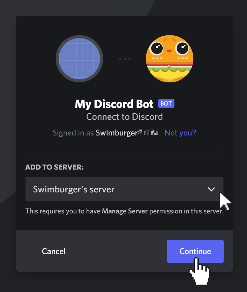 """Add discord bot to your server using OAuth2 flow. Select the server from the dropdown. Cursor is clicking on """"Continue"""" button."""