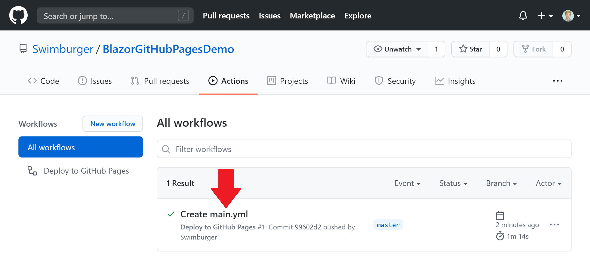 Screenshot of GitHub Actions landing page with workflow run