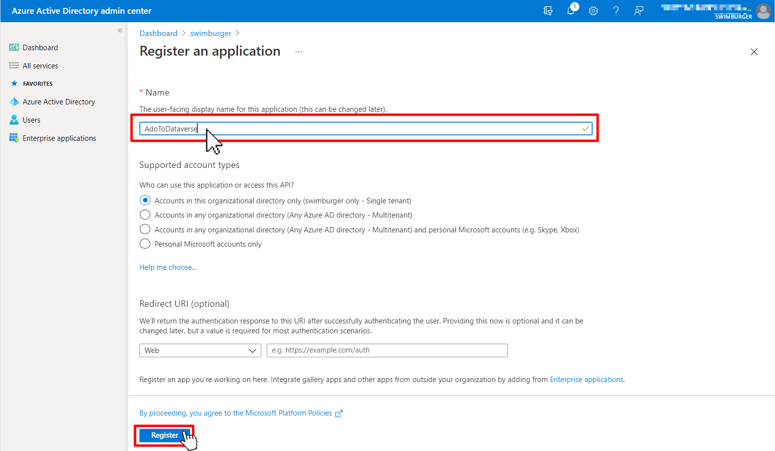 Screen to register an application in Azure Active Directory.